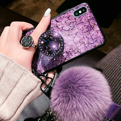 For iPhone 11 Pro Max XR XS Bling Crystal Diamond Marble Case with Phone Holder