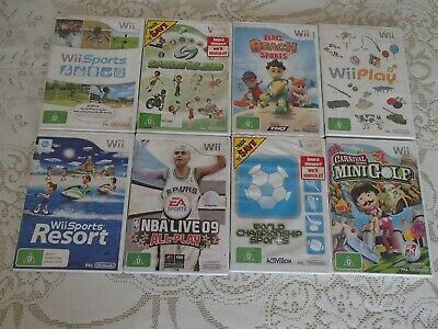8 Nintendo Wii Console Games Beach Resort Island Mini Golf NBA Billiards Tanks