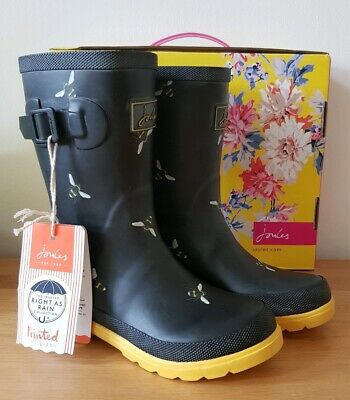 BNIB Girls - JOULES - Wellington Boot BLACK Bee - Size 12 UK Welly - NEW