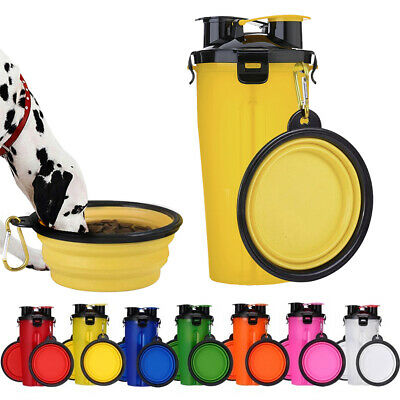 2 in 1 Puppy Dog Cat Pet Water Bottle Cup+Bowl Portable Feeder Outdoor Travel AU