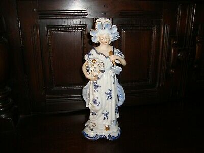 Blue and White Ornament of a Lady, made in Japan, no damage