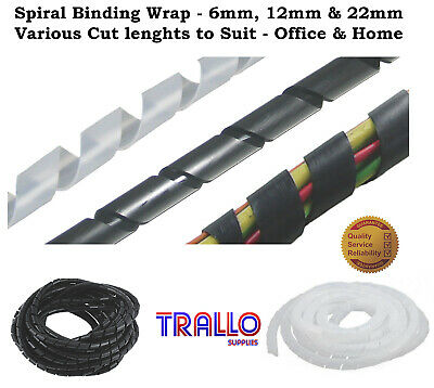 Cable Tidy / Wire Organising / Wrap Spiral Office & Home - Various Lengths