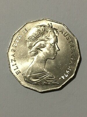 1974 Australian 50 Cent Coin - Low Mintage- Top Grade - Collectable
