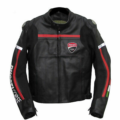 DUCATI CORSE BLACK RACER MOTORBIKE/MOTORCYCLE LEATHER JACKET CE APPROVED Armour
