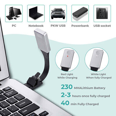3 Brightness Modes Adjustable Clip-on Reading Light USB Rechargeable for Reading