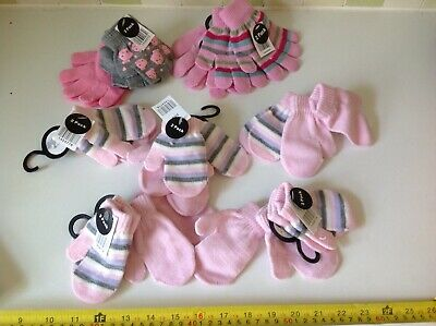 Joblot Bundle Wholesale 7 SETS 14 Pairs BABY GIRLS PINK GLOVES MITTEN BNWT NEW