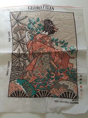 Vintage Glorafilia Completed Tapestry Canvas - Girl Playing Samisen