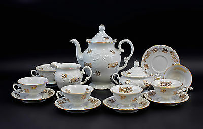 99840181 Porcelain Coffee Service Poland GoldRose um 1950/60