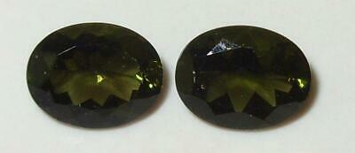 3.06ct Pair Faceted TOP QUALITY Natural Czechoslovakia Moldavite Oval Cut 9x7mm