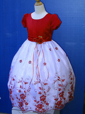 Victorian Girl's Toddler  Pageant  Silk Petal Dress,Red/White Size: 1/2 (2T)