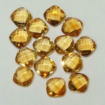 3.82ct Lot 14pcs 4mm Beautiful Brazil Citrine Briolette Square Cushion SPECIAL