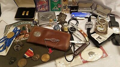Vintage to Mod Junk Drawer Lot Mens Jewelry Militaria Lighter Knives Etc.