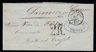 Cad Type 15 Troyes Aube 1854 Saragosse Espagne Spain Lettre  Cover
