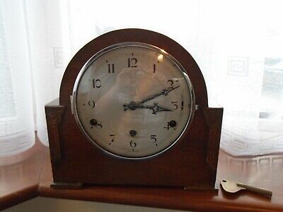 Art Deco Perivale Mantel Clock with Westminster Chimes, Original Key & Pendulum