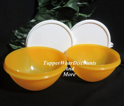 Tupperware New Set of 2 Small 3 Cup Wonderlier Bowls Goldenberry w White Seals