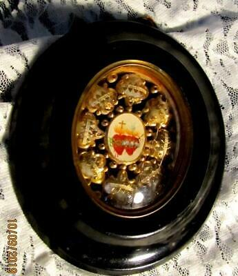 antique 19th.C RELIQUARY PAPEROLE WITH 8 RELICS SAINTS N MARTYRS- RED WAX SEALS-