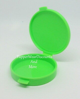 Tupperware New Vintage Mini Clamshell Pill Case Round Keeper Green