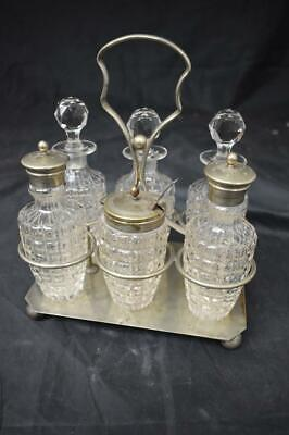 Vintage EPNS Condiment Stand With 6 Piece Cut Glass Set & Silver Spoon