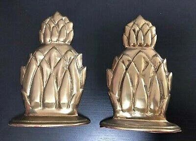Vintage set Of Two Solid brass Pineapple Book Ends  fast shipping