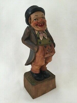 Antique Folk Art Hand Carved Wood Hand Painted Old Man