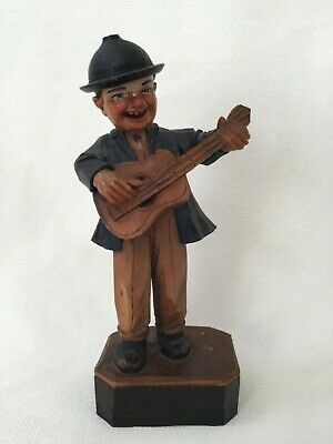 Antique Folk Art Hand Carved Wood Hand Painted Bobble Head Old Man With Guitar