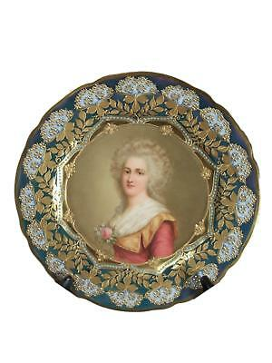 Stunning Antique Royal Vienna Porcelain Hand Painted Jeweled Plate