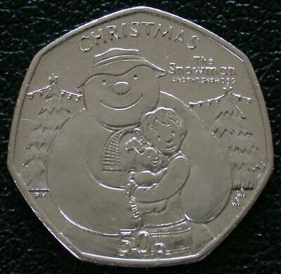 2014 IOM 50p Fifty Pence Christmas Coin SNOWMAN AND DOG BUNC Standard Finish
