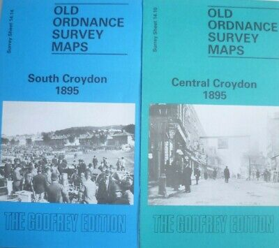 Old Ordnance Survey 2 Maps Central  & South Croydon Surrey 1895 Godfrey Edition