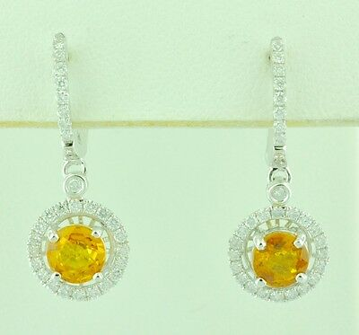 14k Solid White Gold Natural Diamond Yellow Sapphire Halo earring 1.95 ct Dangle