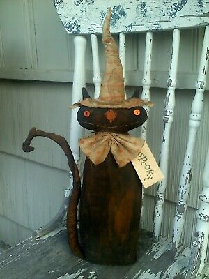 MADE TO ORDER Primitive Folk Art Grubby Black Cat Witch Doll Halloween Fall