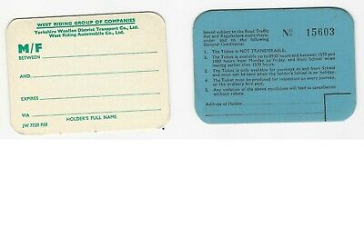 2 Bus Tickets - West Riding Automobile Thick Card Contract & Scholars Tickets