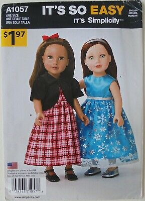 "Simplicity 1057 It's So Easy 18"" Doll Clothes Dresses Sewing Pattern"