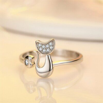 Adjustable Open Cat Animal Crystal Women Knuckle Finger Silver Ring Band Jewelry