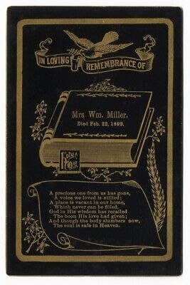 HOLY BIBLE on REMEMBRANCE gold edged 1899 CABINET CARD Wm MILLER poem FUNERAL