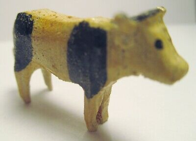 "Antique Wood Miniature Hand Carved and Painted Primitive COW  1 1/2"" Folk Art A+"