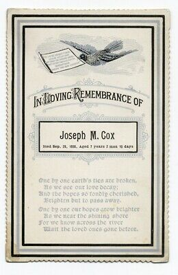 FUNERAL CARD 1886 REMEMBRANCE 7 year old BOY Joseph M. Cox POEM silver ink DOVE