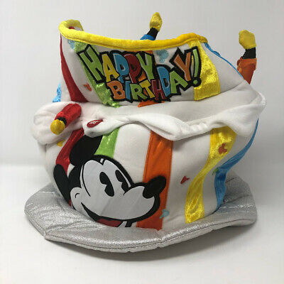 Disney Parks Mickey Mouse Birthday Cake Hat Adult Lights Up NWT Disneyland