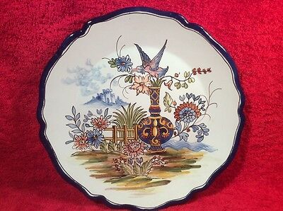 Antique French Faience Desvres n. Quimper Nevres A. Montaignon Wall Plate fm801