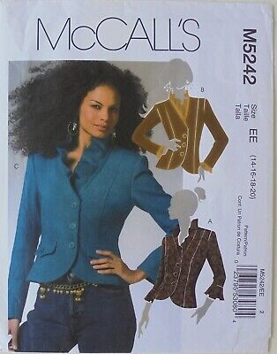 McCalls 5242 Misses Lined Jackets Sewing Pattern Sz 14-20