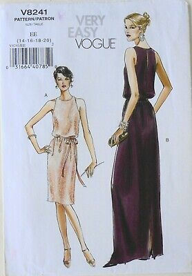 Vogue 8241 Misses / Miss Petite Very Easy Dresses Belt Sewing Pattern Sz 14-20
