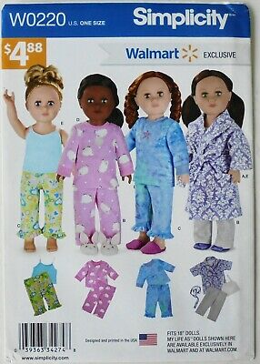 "SImplicity H0220 Walmart Exclusive 18"" Doll Clothes Pajama Robe Sewing Pattern"