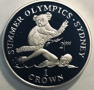 GIBRALTAR - Sydney Summer Olympics - One Crown - 1999 - Proof Silver Crown