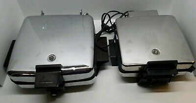 Vtg Chrome Toastmaster Waffle Iron Maker Sandwich Grill Griddle Lot 259A & 442A