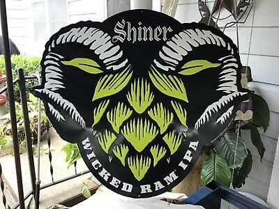 """Shiner Texas Wicked Ram Ipa Ale Beer  36"""" X 30"""" Tin Sign Brewery Alcohol Tin New"""