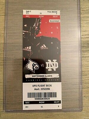 2019 Notre Dame vs Louisville NCAA College Football Official Ticket Stub 9/2/19