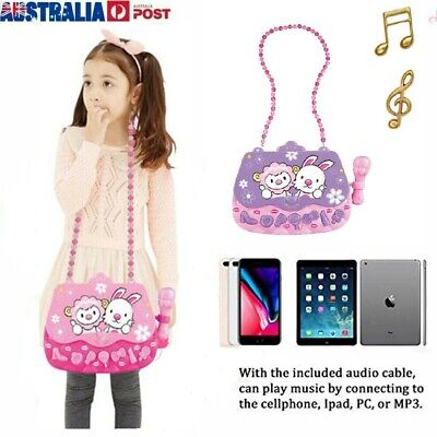 Kids Girls Karaoke Machine Toys Musical Player Bag with Microphone for 3-6 Year