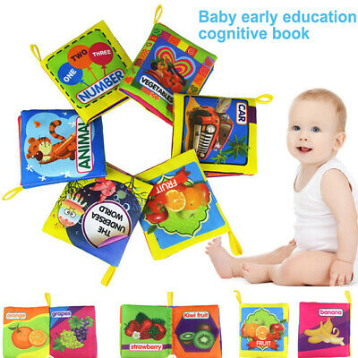 6pcs/set Baby Soft Cloth Book Early Educational Cartoon Animal Undersea Number