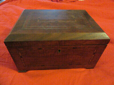 Antique French Napoleon III Jewelry box casket Wood Marquetry inlaid wooden