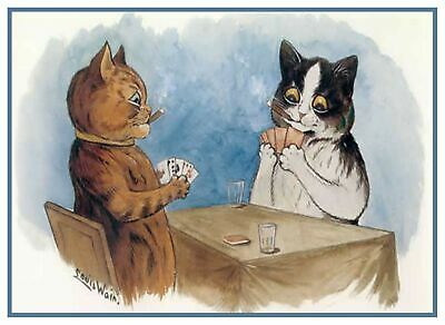 Louis Wain's Kitty Chats Jouants Poker Point de Croix Tableau Motif