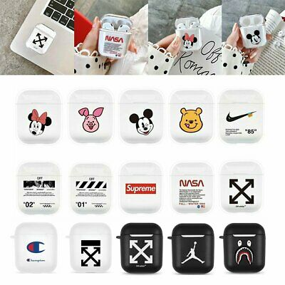 For Apple AirPods Cartoon Hype Hard PC Earphone Holder Crystal Case Cover Bag QC